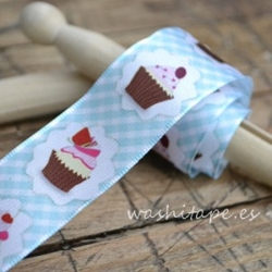 Cinta Cupcakes 40 mm azul
