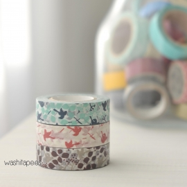 "Set 3 masking tape Classiky ""Ten to sen"" pájaros"