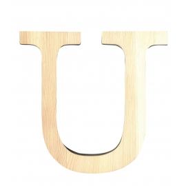 Letra de madera U de 19 cm
