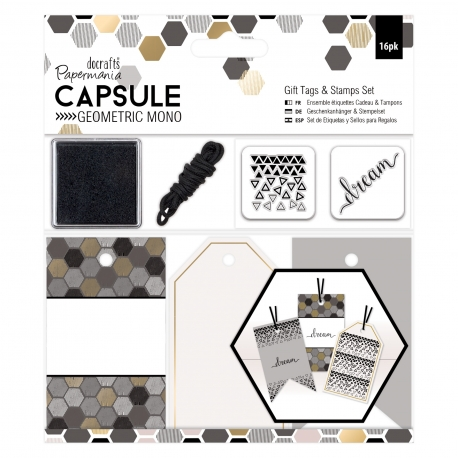 Gift Tags & Stamps Set - Capsule - Geometric Mono