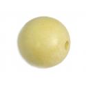 Cuenta madera bola encerada beige diam. 15mm. 10u.