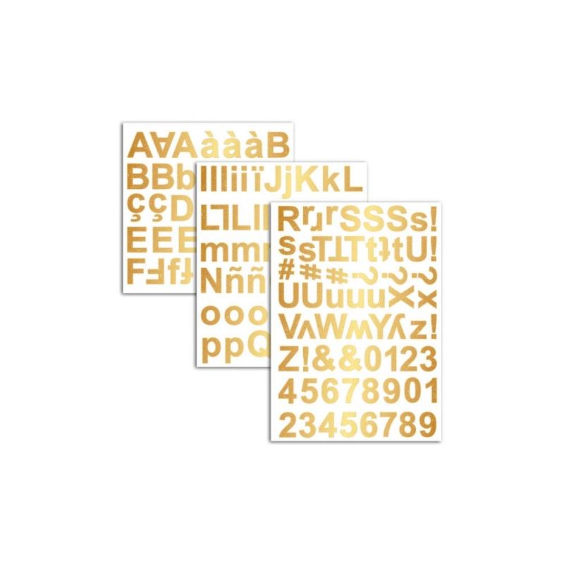 3 hojas pegatinas Alfabeto, Números y Símbolos chipboard Oro