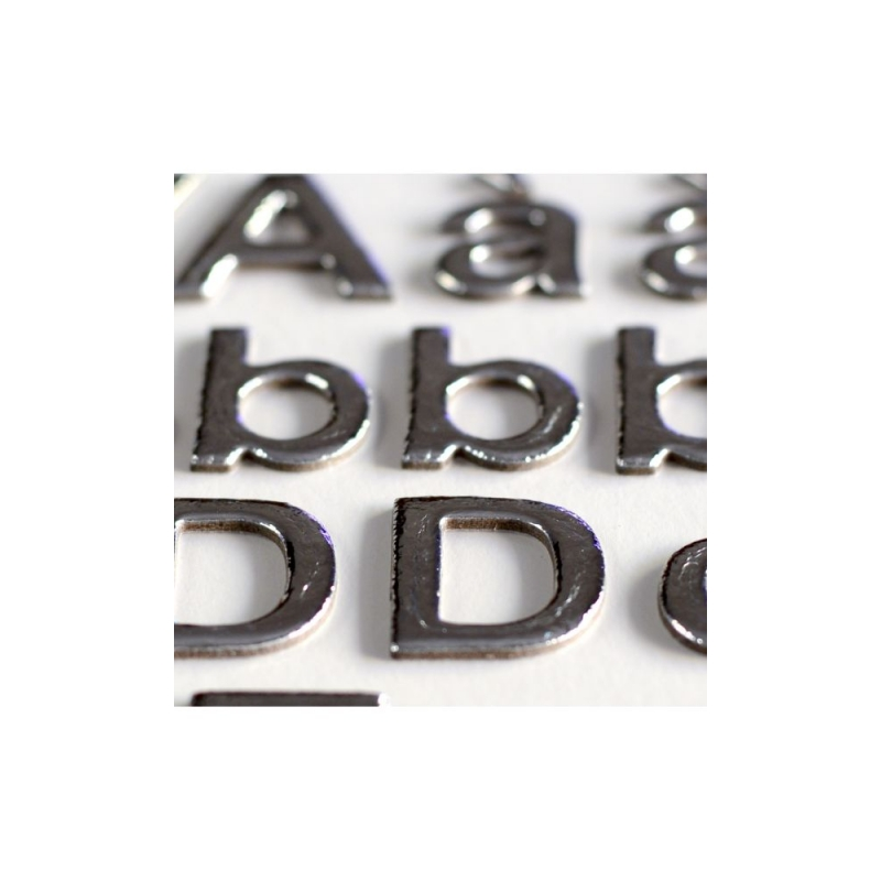 3 hojas pegatinas Alfabeto, Números y Símbolos chipboard Plata