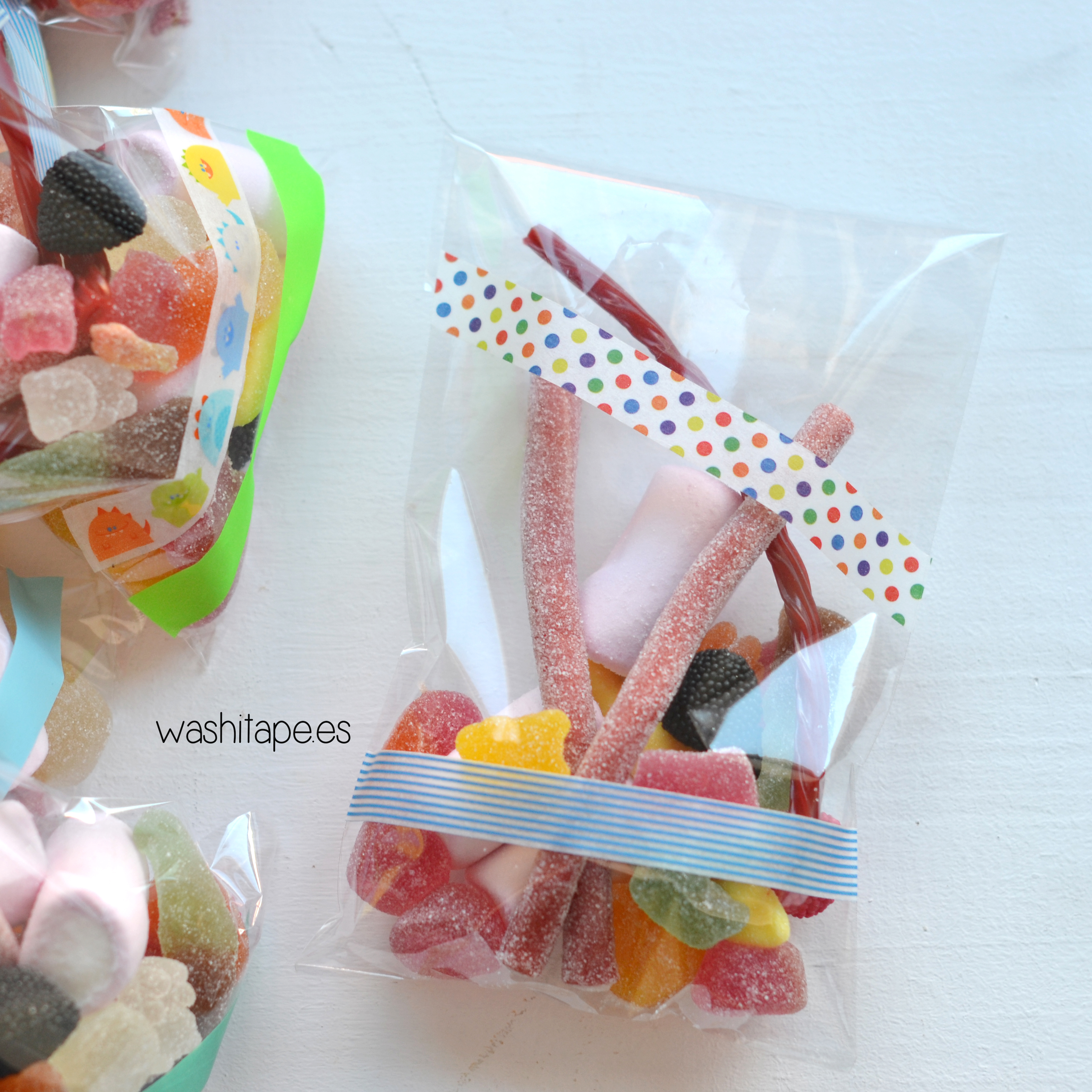 Bolsas de chuches decoradas con washi tape
