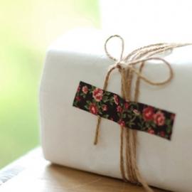 Dailylike Fabric tape Antique Flower Dark Brown