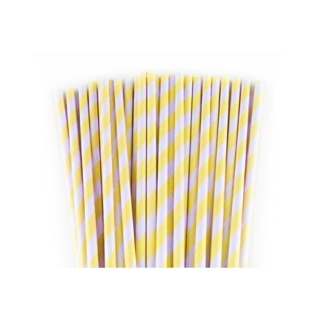 25 Pajitas rayas amarillo limón