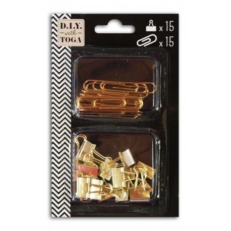 Conjunto de 15 maxi clips/ 15 Mini clips dorados